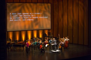 musicNOW replaces traditional concert programs with videos and messages projected on stage and through text message alerts. Courtesy of the Chicago Symphony Orchestra